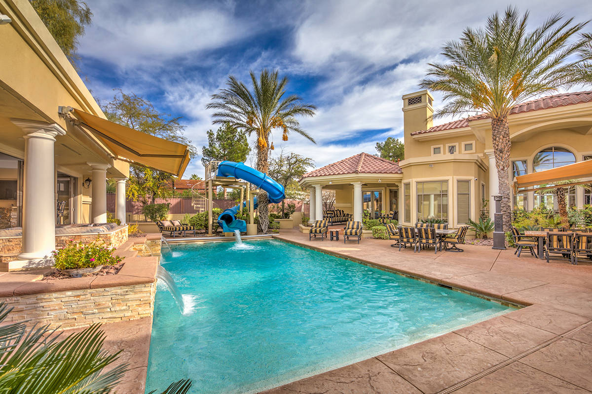 This mansion has been listed for $5.5 million. It features a large backyard with pool, outdoor ...