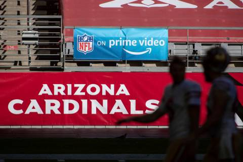 FILE - In this Saturday, Dec. 26, 2020, file photo, An 'NFL on prime video' banner hangs on the ...