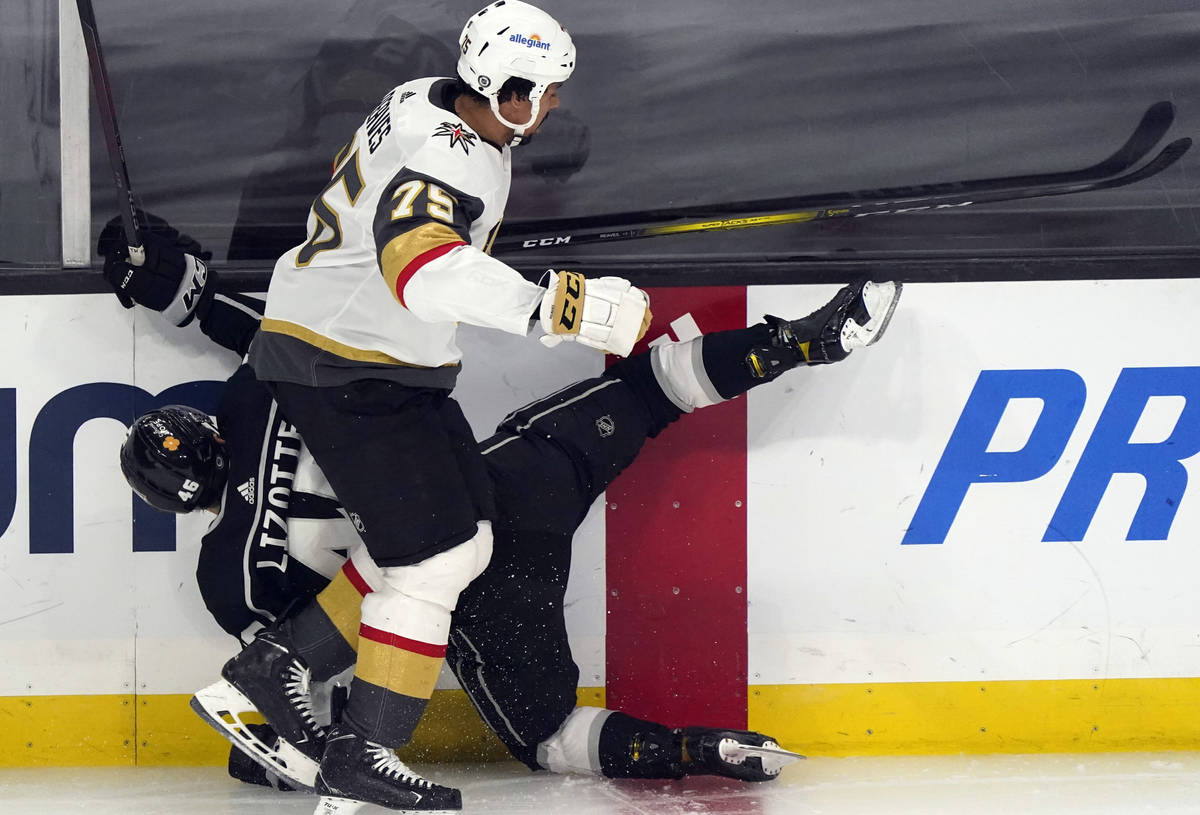Vegas Golden Knights right wing Ryan Reaves (75) collides with Los Angeles Kings center Blake L ...