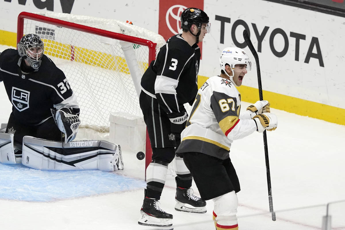 Vegas Golden Knights left wing Max Pacioretty (67) celebrates afer scoring past Los Angeles Kin ...