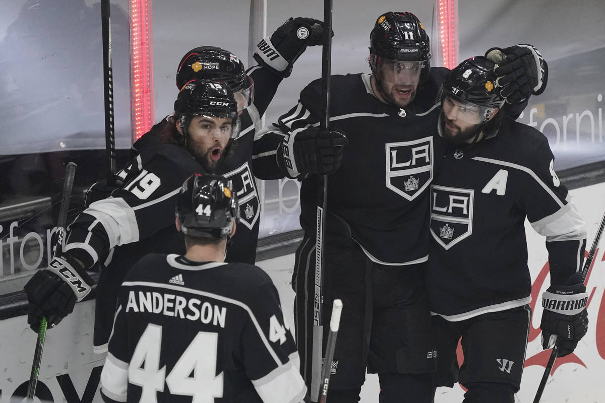 Los Angeles Kings left wing Alex Iafallo (19) celebrates his goal with teammates during the fir ...