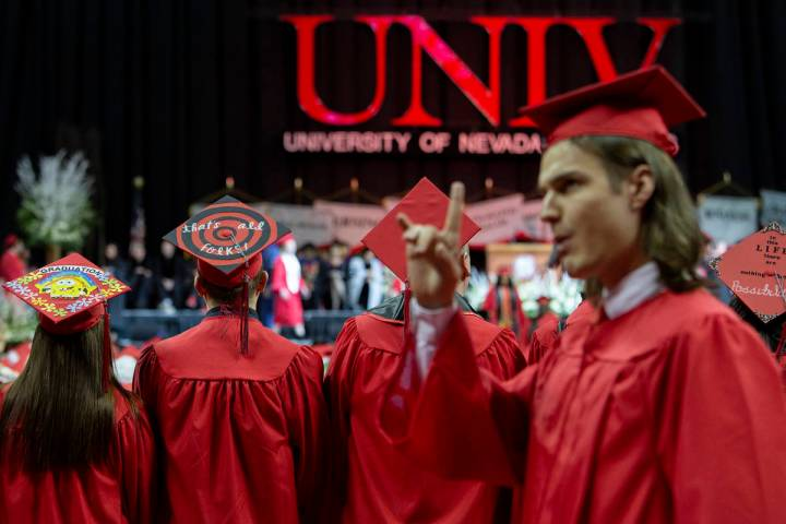 Undergraduate students receive their degrees at UNLV's winter commencement on Tuesday, Dec. 17, ...