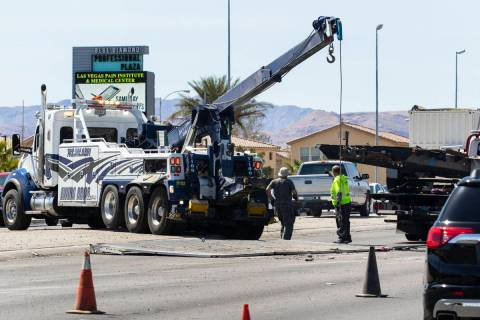 The Nevada Highway Patrol is investigating a rollover crash on Blue Diamond Road and Edmond Str ...