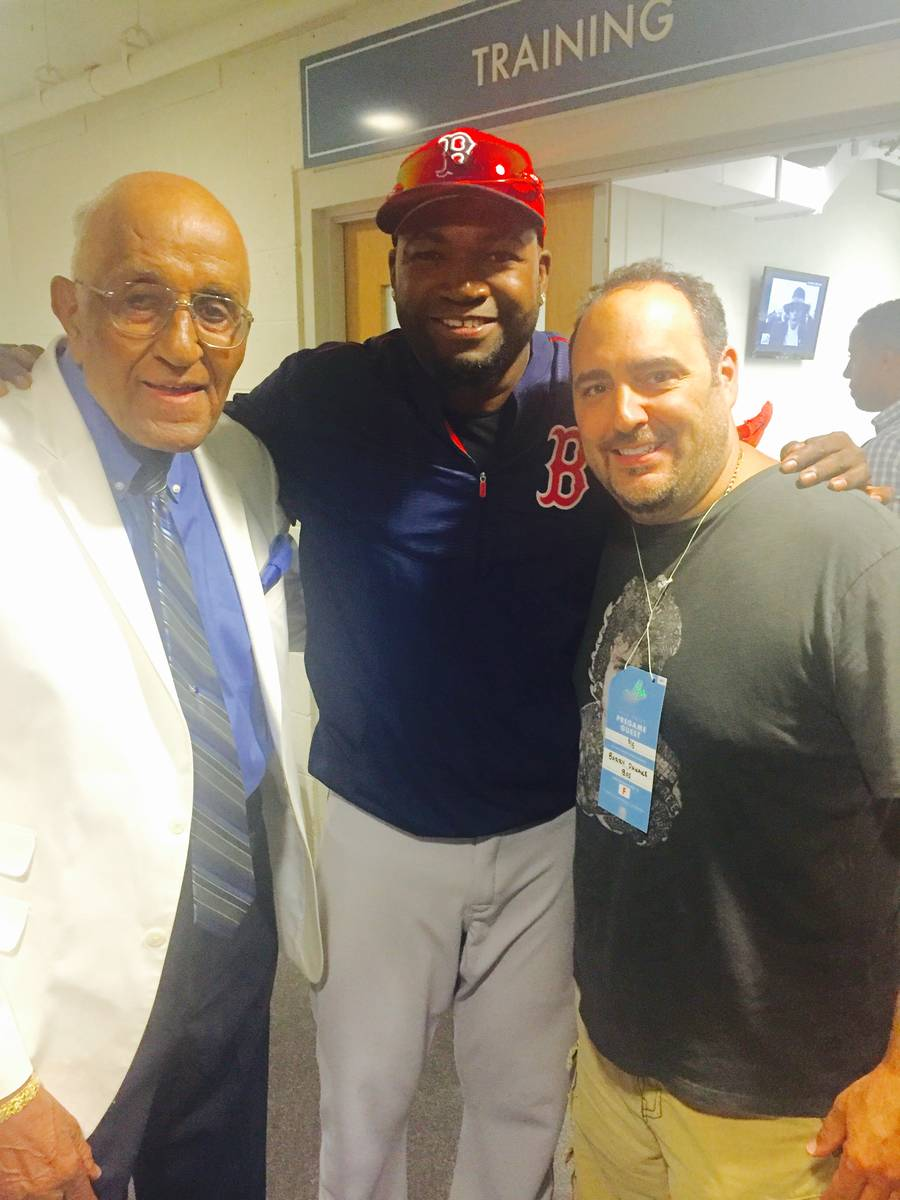 "Chef Barry Dakake presents David ""Big Papi"" Ortiz of the Boston Red Sox are shown at Dodger Sta ..."