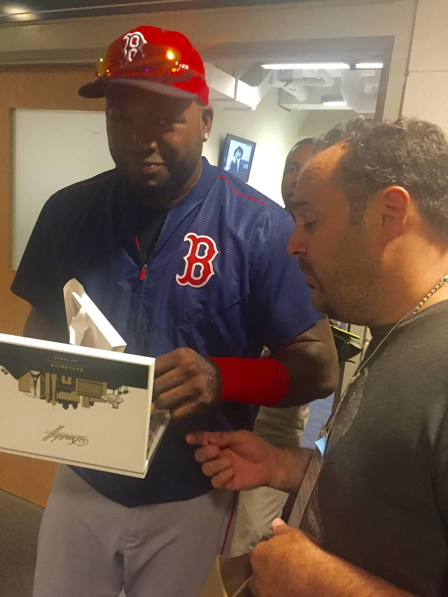 "Chef Barry Dakake presents David ""Big Papi"" Ortiz of the Boston Red Sox a box are shown at Dodg ..."