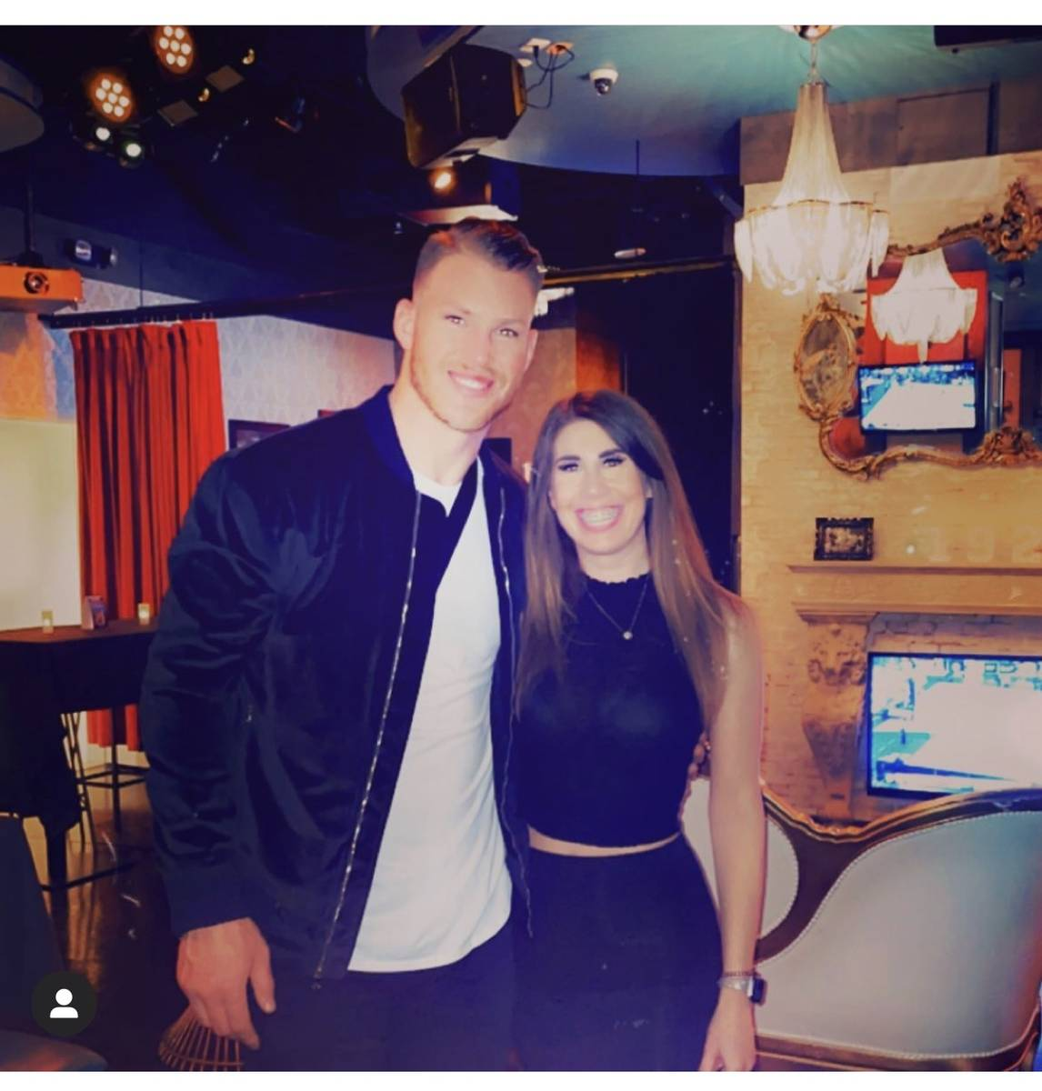 New York Giants tight end Kyle Rudolph is shown with 1923 Prohibition Bar manager Michaela Latt ...