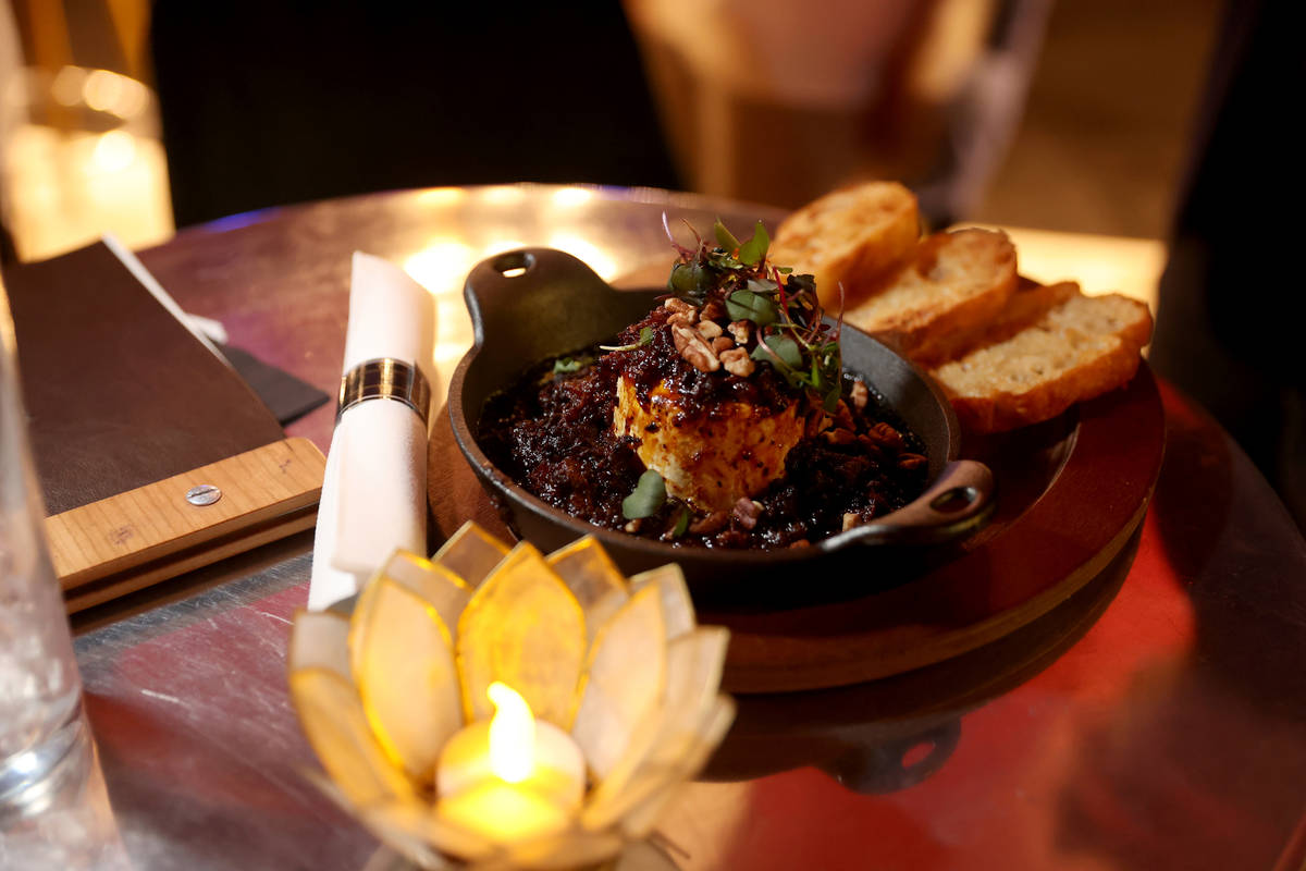 Brie & Fig Jam on toasted Baguette on reopening night at Cork and Thorn in downtown Las Vegas S ...