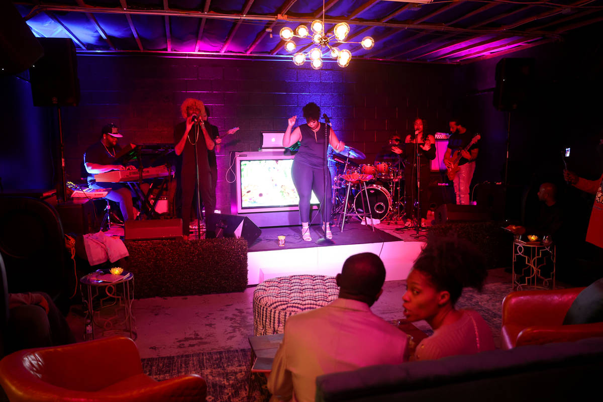 Rather, Black Rayn and the M.O.B. Band on reopening night at Cork and Thorn in downtown Las Veg ...