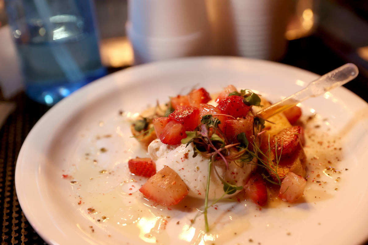 Creamy Burratta on reopening night at Cork and Thorn in downtown Las Vegas Sunday, March 21, 20 ...