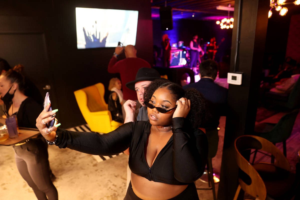 Kayla Lowery and Jon Morgan on reopening night at Cork and Thorn in downtown Las Vegas Sunday, ...