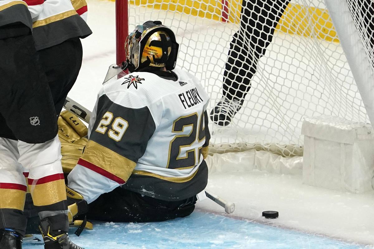 Vegas Golden Knights goaltender Marc-Andre Fleury is scored on by Los Angeles Kings defenseman ...