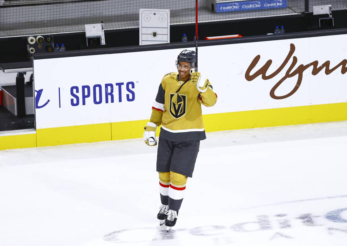 Golden Knights' Keegan Kolesar celebrates after a hockey game where he scored his first NHL goa ...