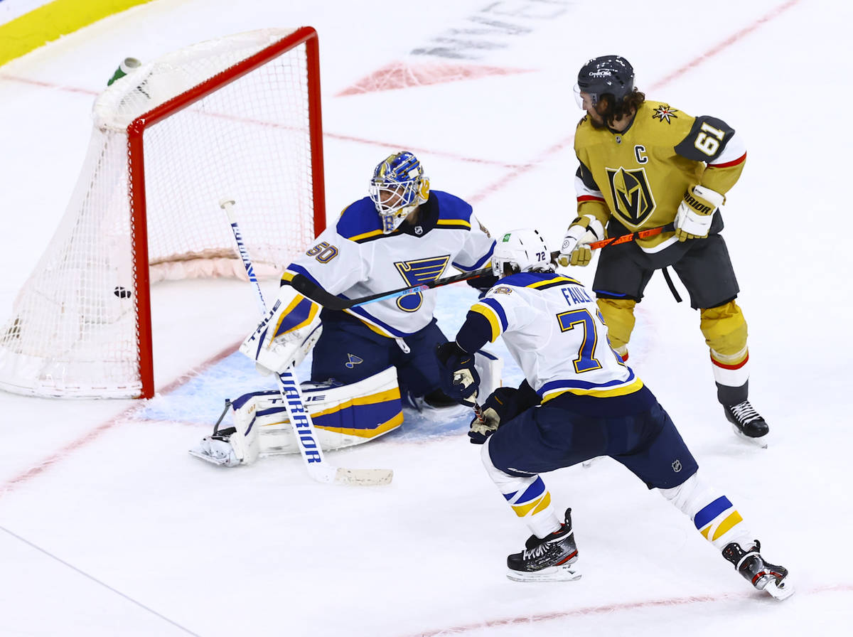 Golden Knights' right wing Mark Stone (61) scores his second goal of the third period of an NHL ...