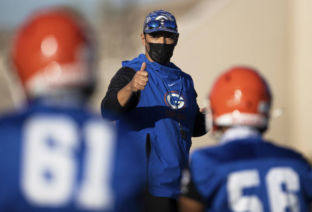 Bishop Gorman head football coach Brent Browner leads practice on Friday, Feb. 19, 2021, at Bis ...