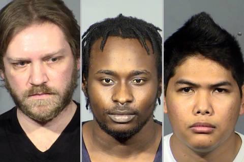 From left, Jacob Bopp, Keshawn Nix and John Fabro (Las Vegas Metropolitan Police Department)