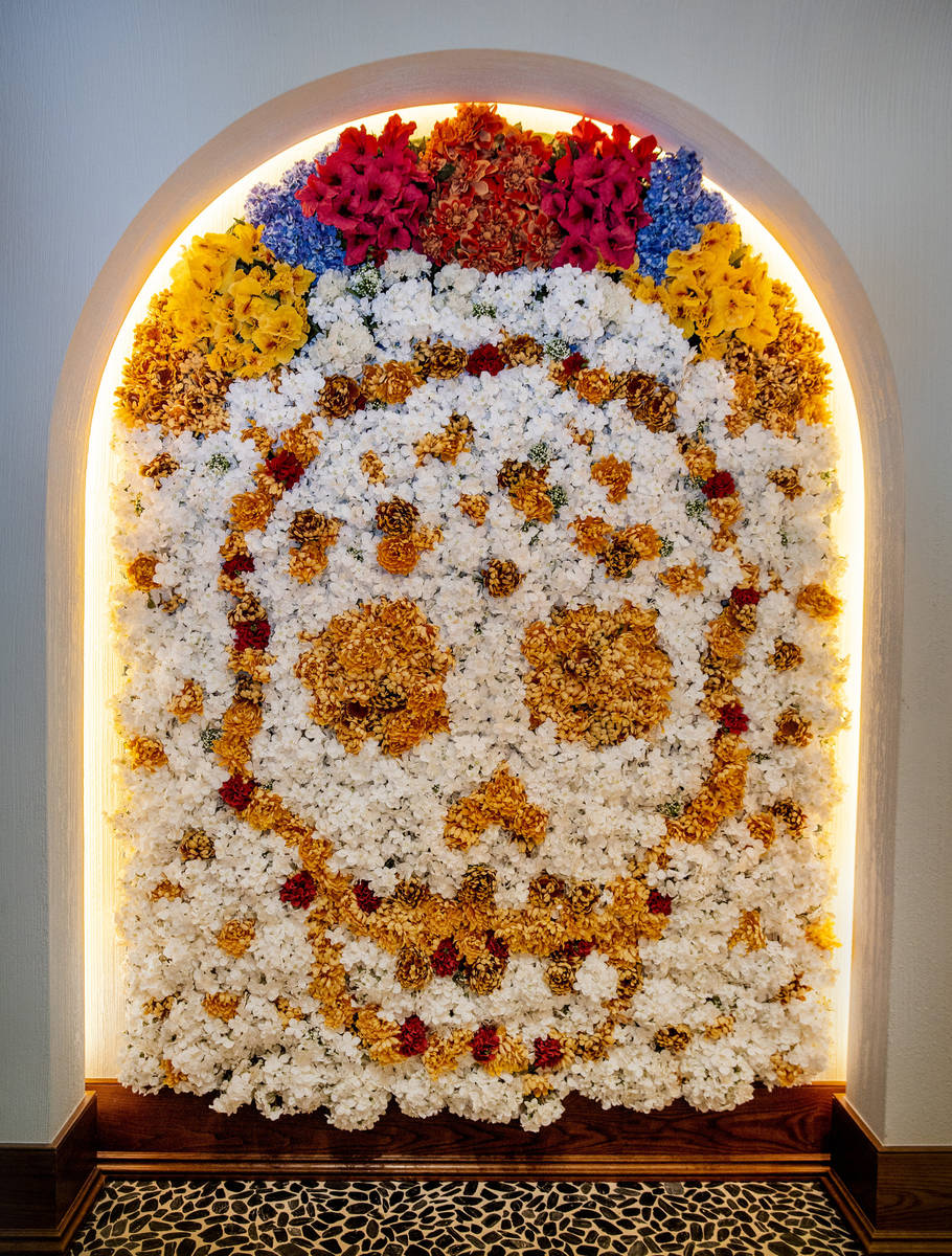 A skull of flowers about the entrance at Casa Calavera within the reimagined and re-conceptuali ...