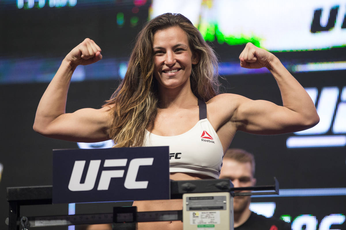 UFC fighter Miesha Tate poses during her weigh-in for UFC 196 at the MGM Grand Garden Arena on ...
