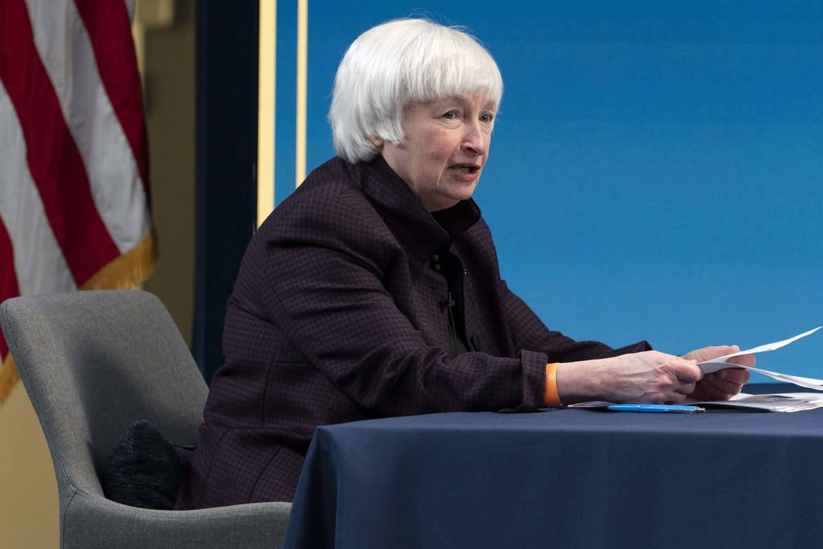 Treasury Secretary Janet Yellen speaks during a virtual roundtable with participants from Black ...
