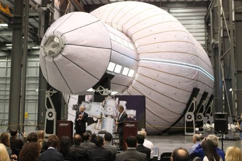 Bill Gerstenmaier, left, associate administrator of space operations for NASA, speaks during a ...