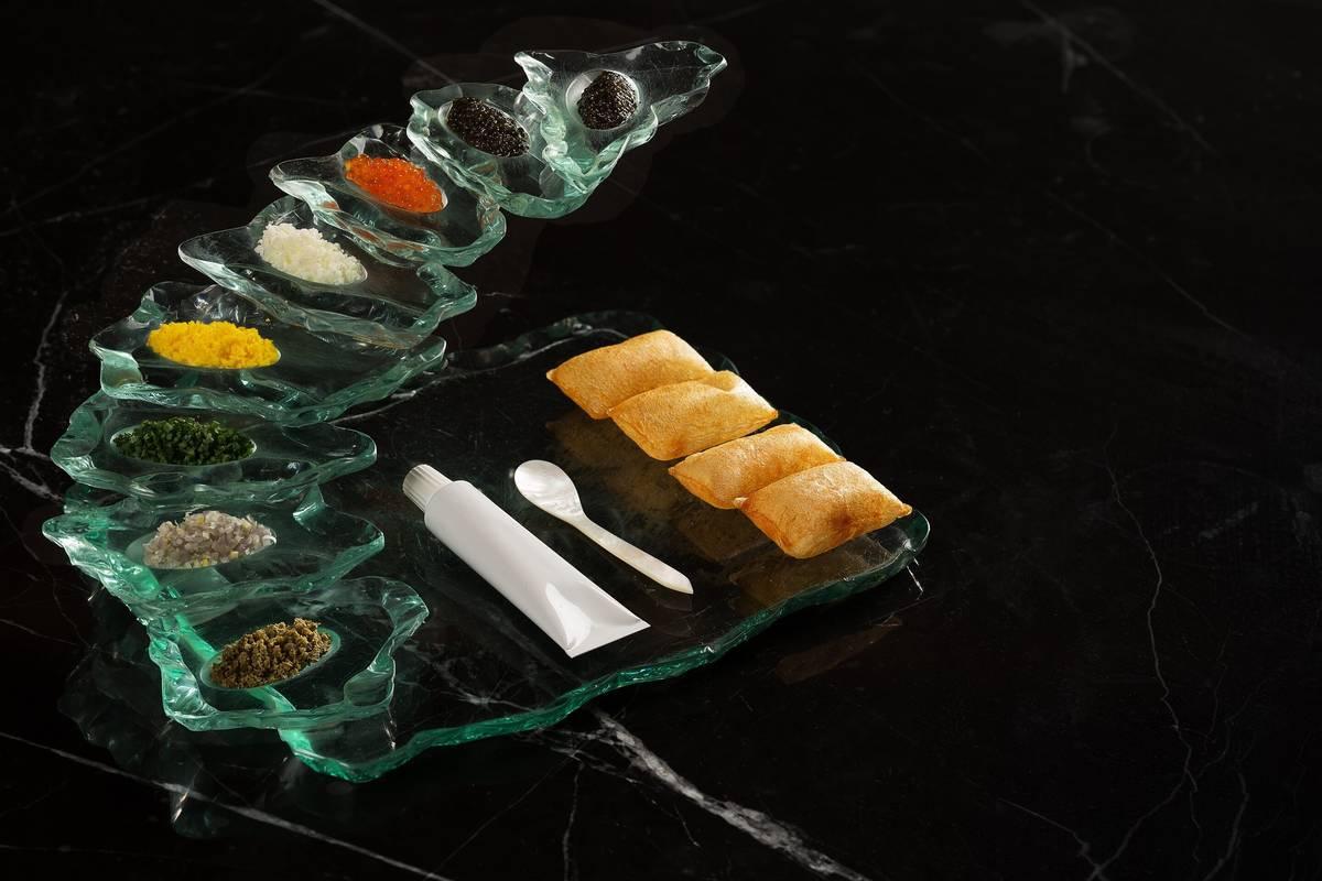Caviar flight at Bazaar Meat. (Anthony Mair)