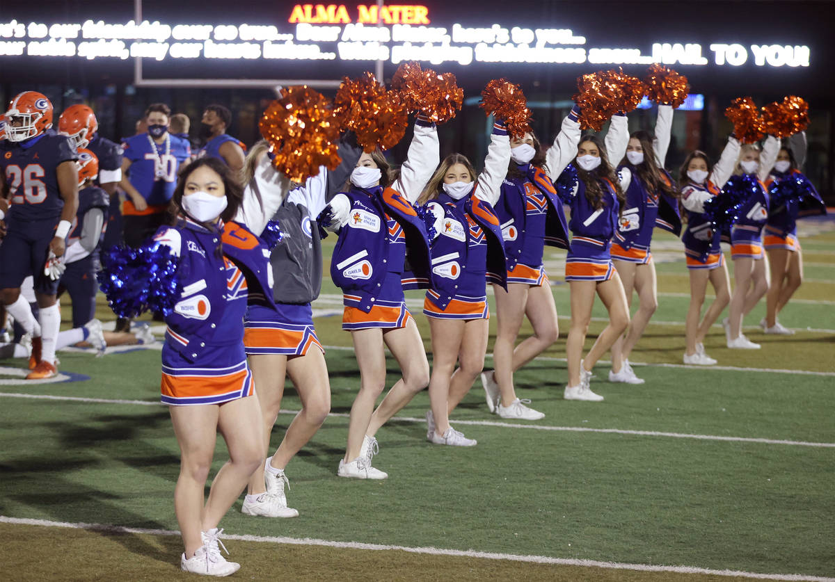 Cheerleaders celebrate Bishop Gorman's win against Faith Lutheran in a football game at Bishop ...