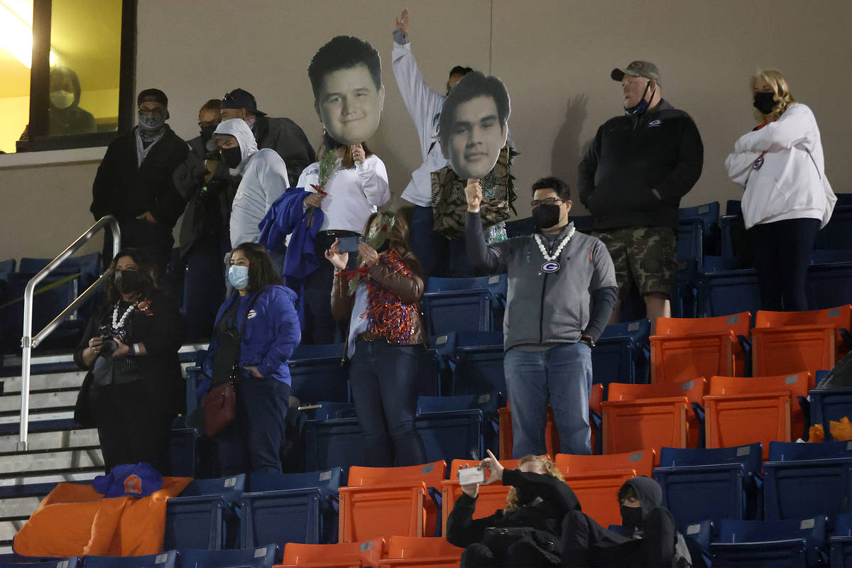 Fans celebrate for Bishop Gorman in their football game against Faith Lutheran at Bishop Gorman ...