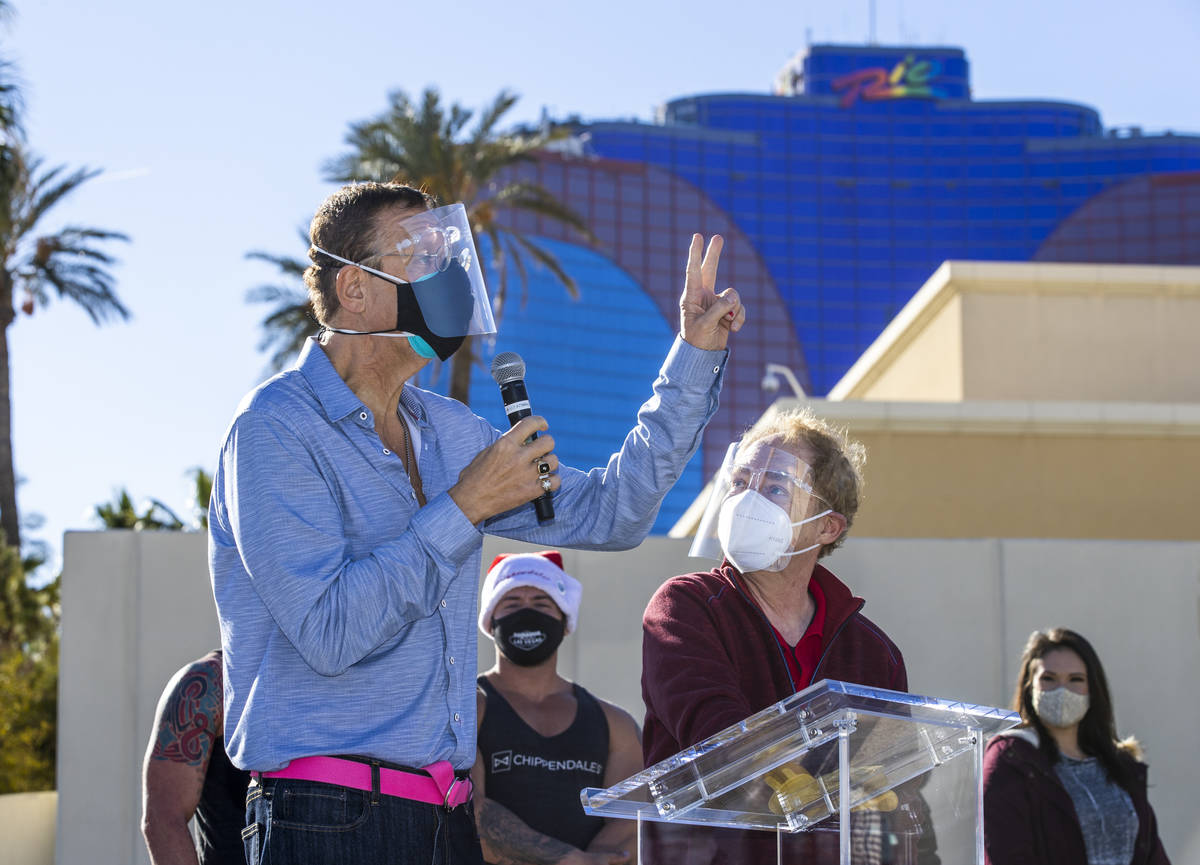 Penn & Teller welcome everyone back during the re-opening of the Rio on Tuesday, Dec. 22, 2020, ...