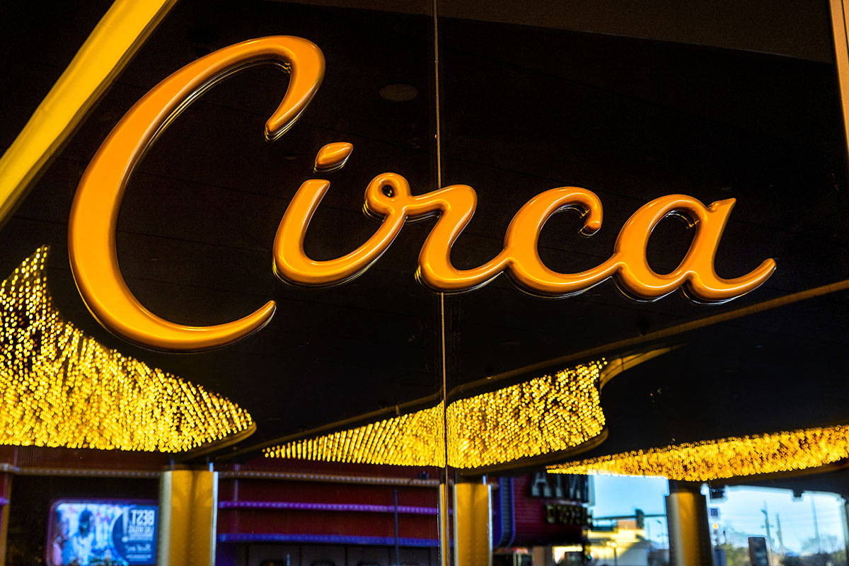 The new porte cochre at Circa is illuminated and ready for visitors on Friday, Dec. 18, 2 ...