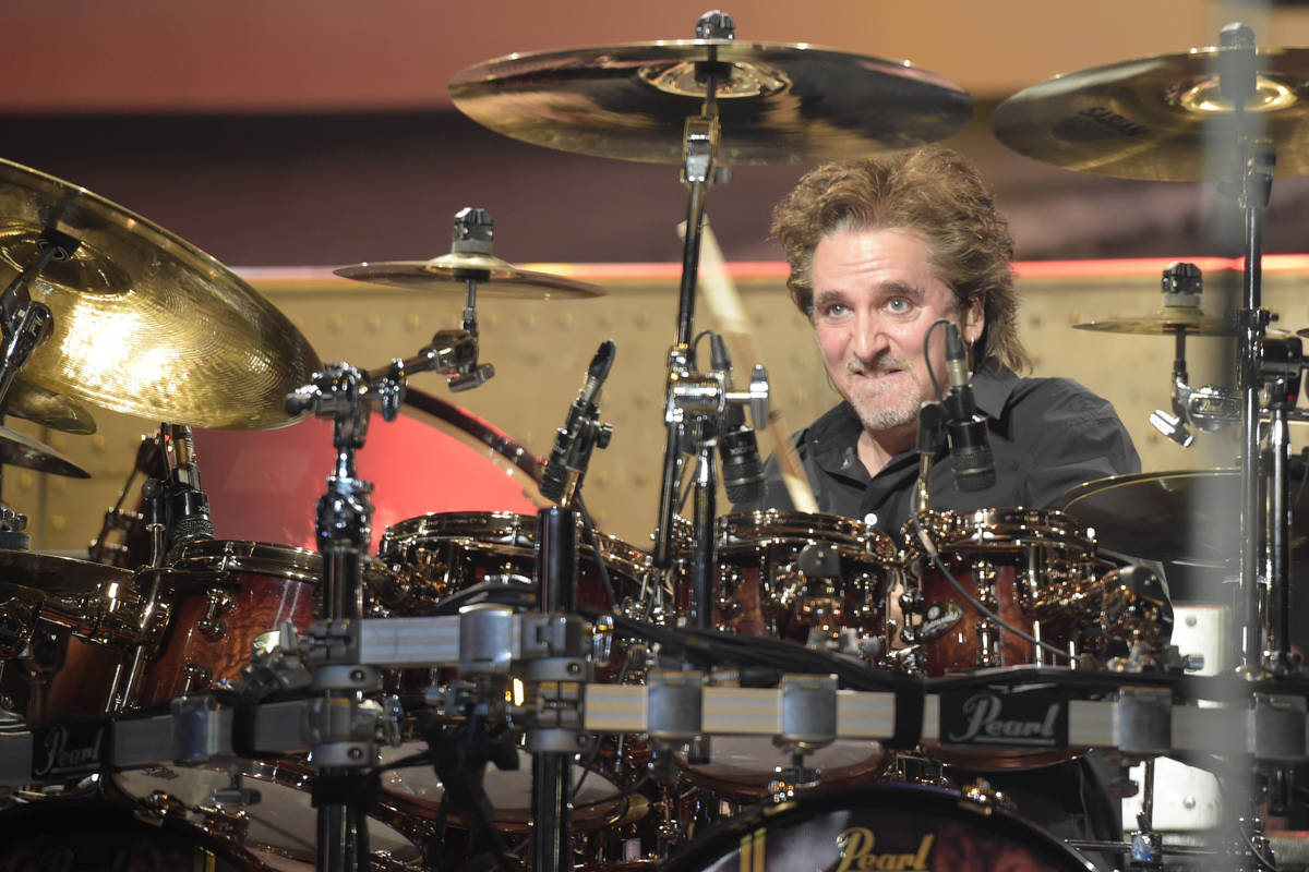 Styx drummer Todd Sucherman performs with the band Thursday, Jan. 5, 2017, to promote their upc ...