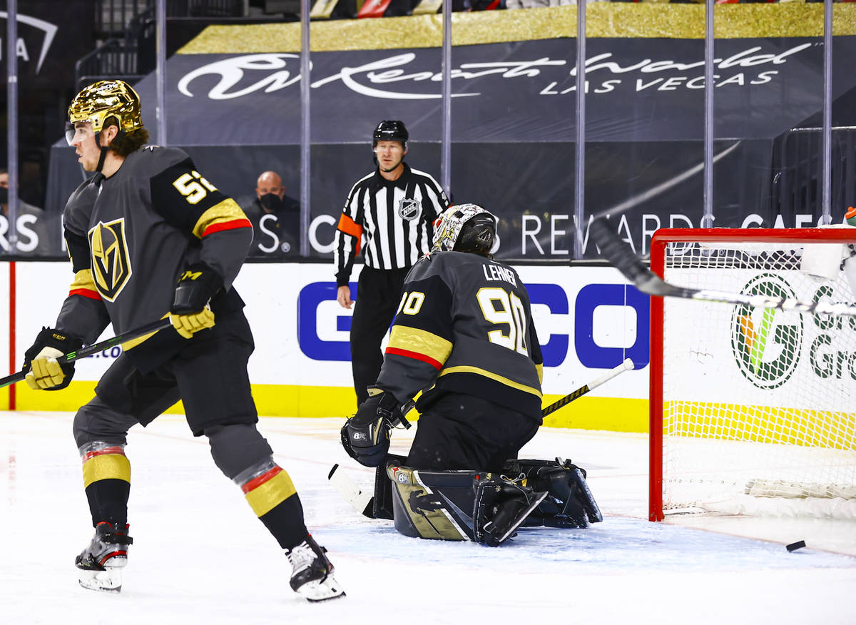 Golden Knights goaltender Robin Lehner (90) gives up a goal to the Los Angeles Kings during the ...