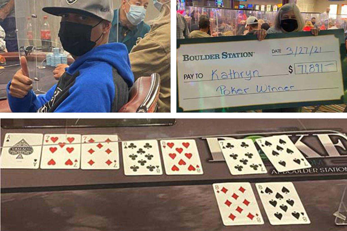 John Gardner, top left, celebrates his winning hand of four 8s for $41,081, and Kathryn holds h ...