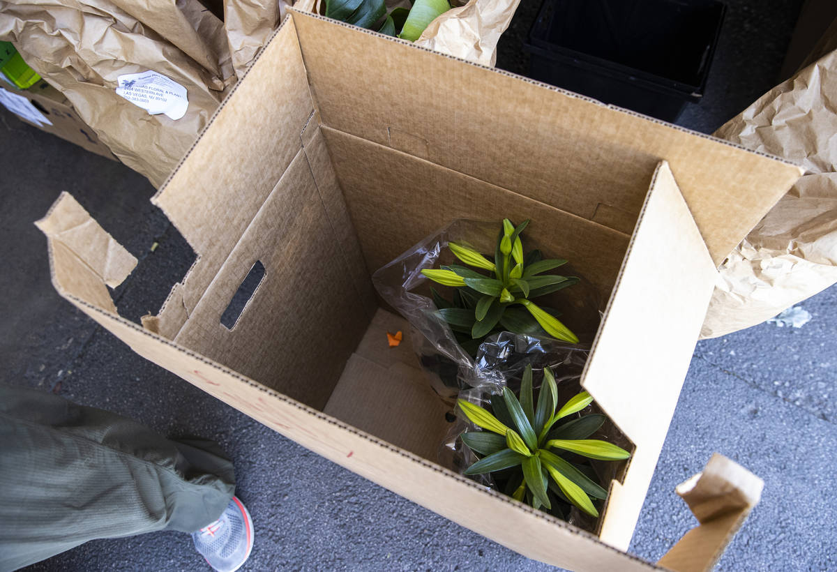 Lilies are boxed up for delivery at Las Vegas Floral Wholesale in Las Vegas on Tuesday, March 3 ...