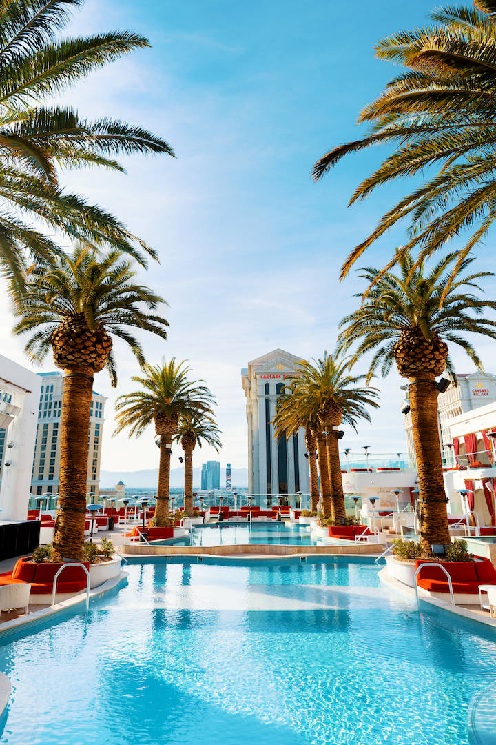 The view from the Barbie Box at Drai's Beach Club is shown in a promotional photo. The roof-top ...