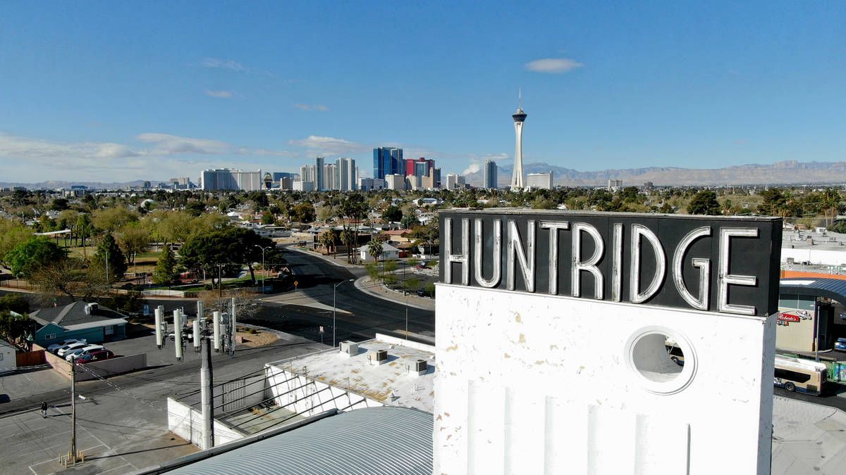 An aerial view of the Huntridge Theater in Las Vegas on Friday, March 26, 2021. (Michael Quine/ ...