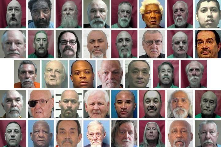 Top row, left-right: Ronald Altringer, 50; William Bell, 74; Paul Bouteiller, 73; Robert Bowman ...