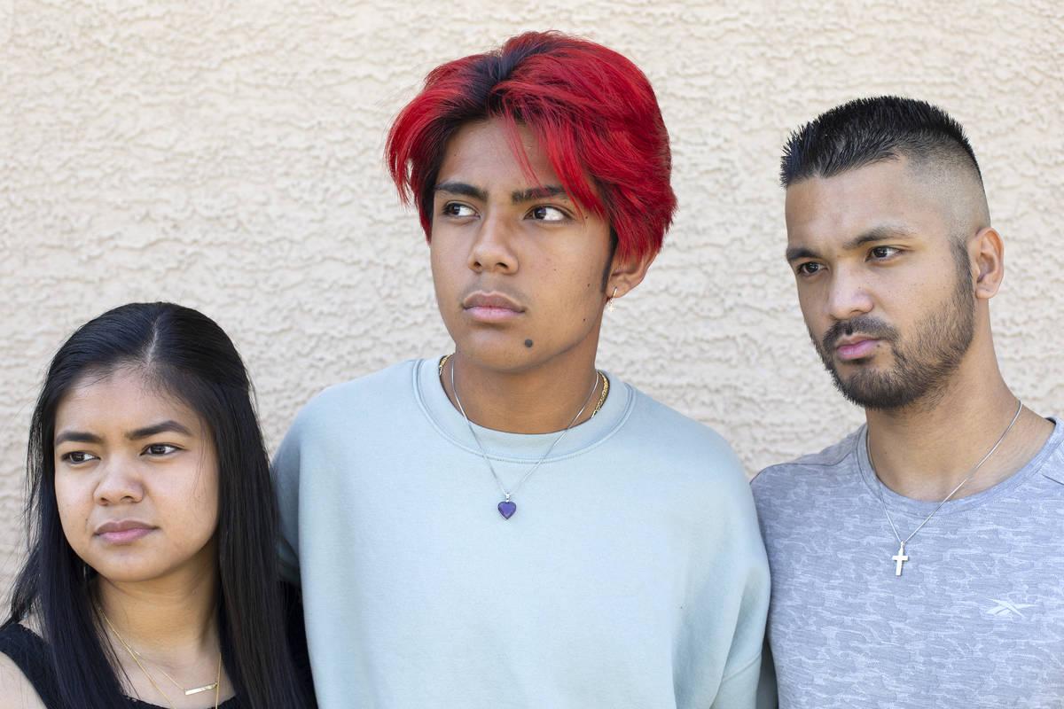 Kyla Dominguez, Von Dominguez and Ricky Dominguez, children of Zarina Bayani Rose, at their mot ...