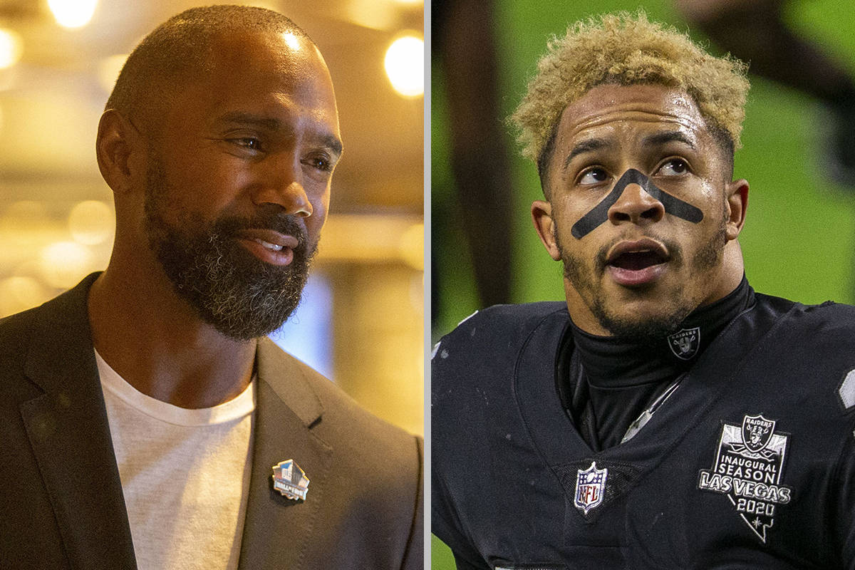 Charles Woodson, left, and Johnathan Abram disagree about whether Abram has reached out to Wood ...