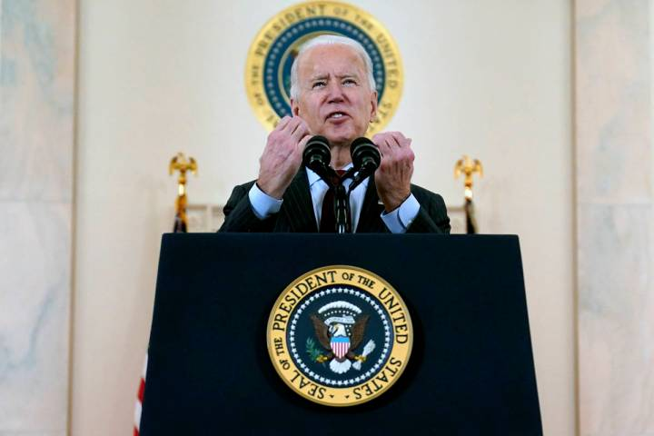 President Joe Biden speaks about the 500,000 Americans that died from COVID-19, Monday, Feb. 22 ...