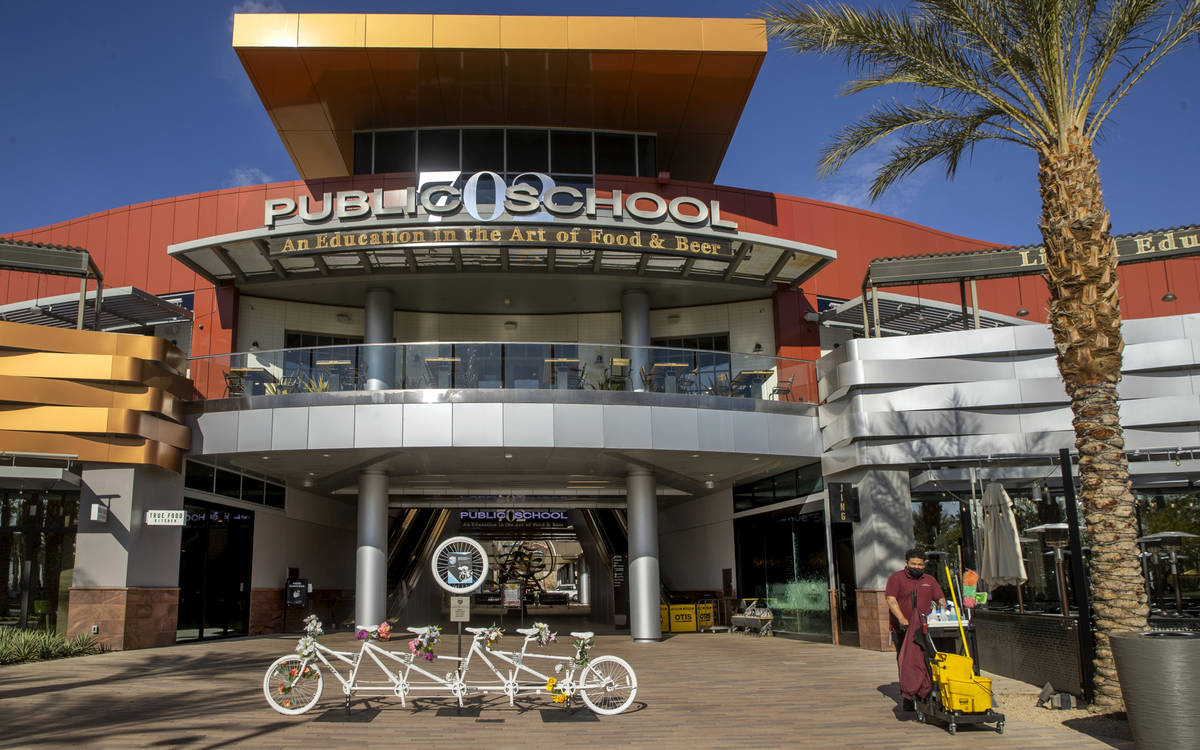 Ghost Bikes Las Vegas relocates their 5-person bike to Downtown Summerlin in front of Public Sc ...