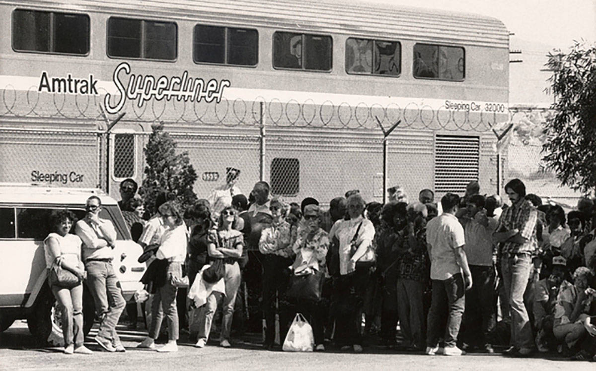 An Amtrak Superliner is seen in Las Vegas on May 18, 1986. Amtrak operated the Desert Wind rout ...