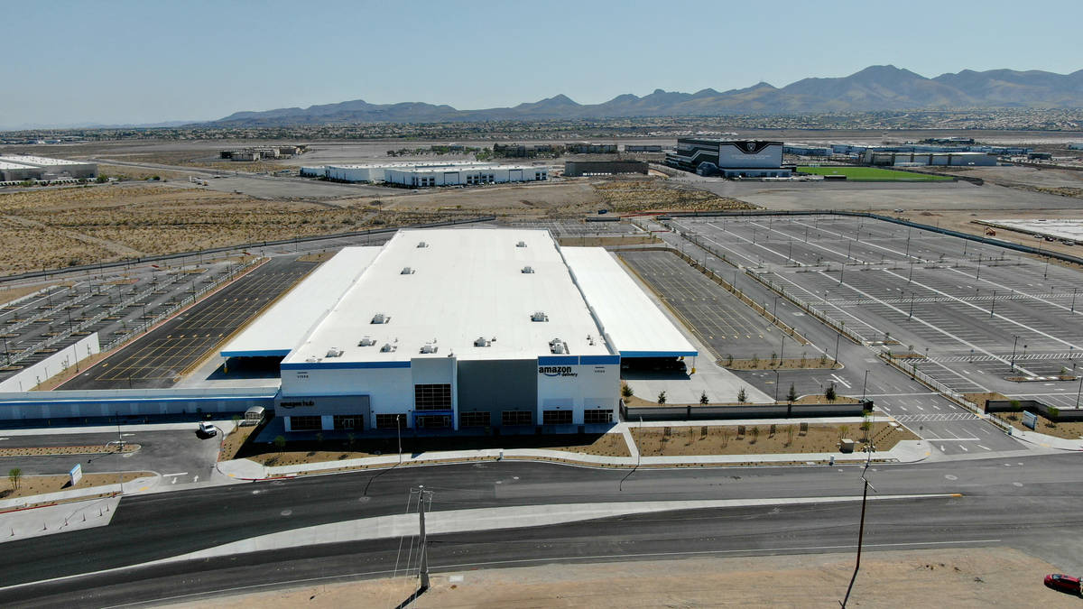 The Amazon distribution center at St. Rose Parkway and Bermuda Road is located behind the Las V ...