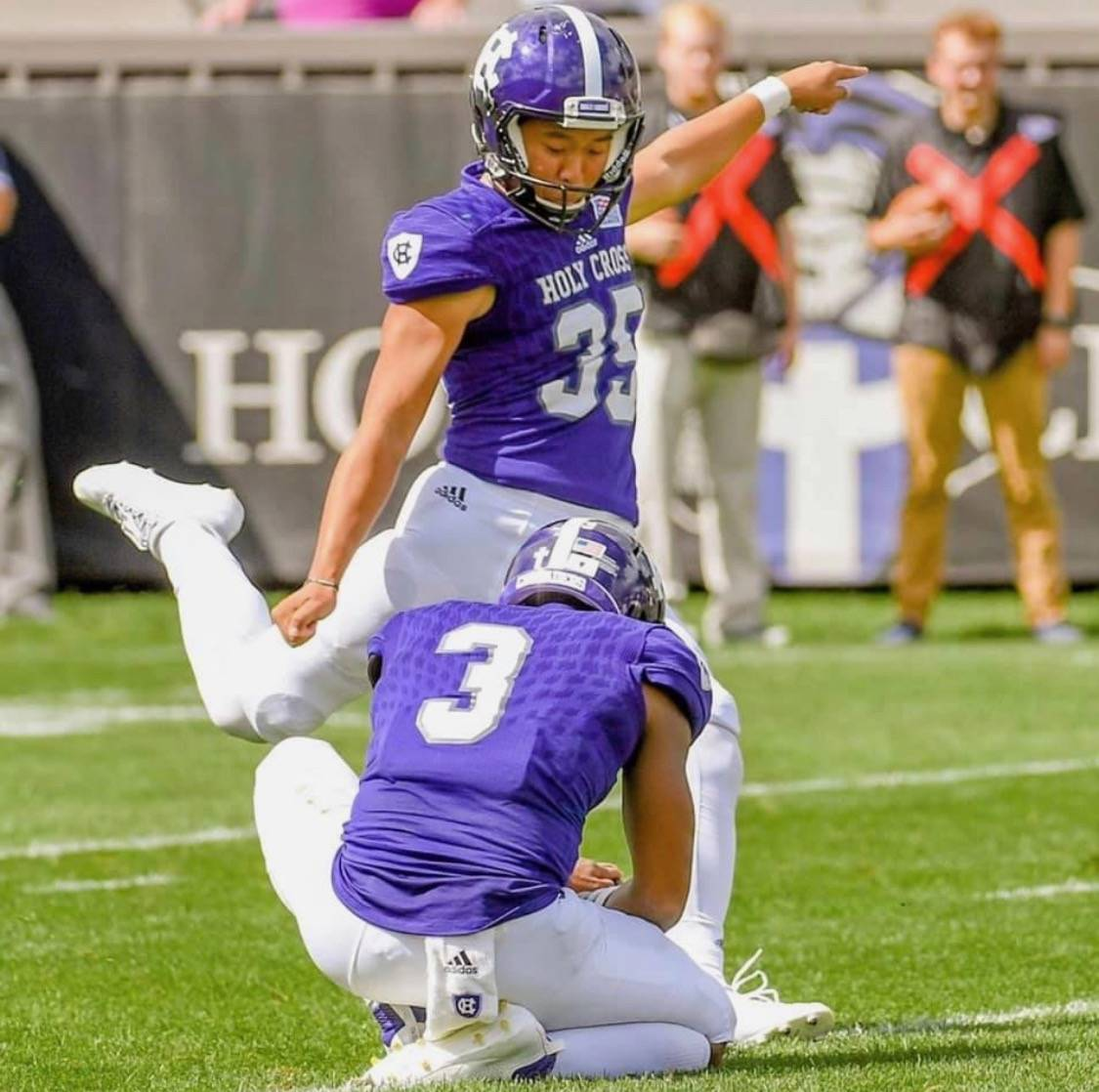 Former Bishop Gorman High kicker Derek Ng kicked a Holy Cross record 51-yard field goal in the ...