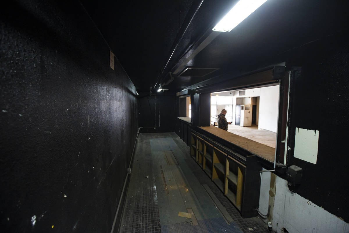 A bar and snack area inside the Huntridge Theater is seen the day after Dapper Companies founde ...