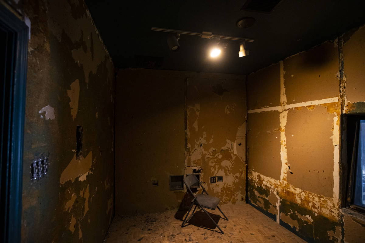 A cry room overlooks the stage inside the Huntridge Theater the day after Dapper Companies foun ...