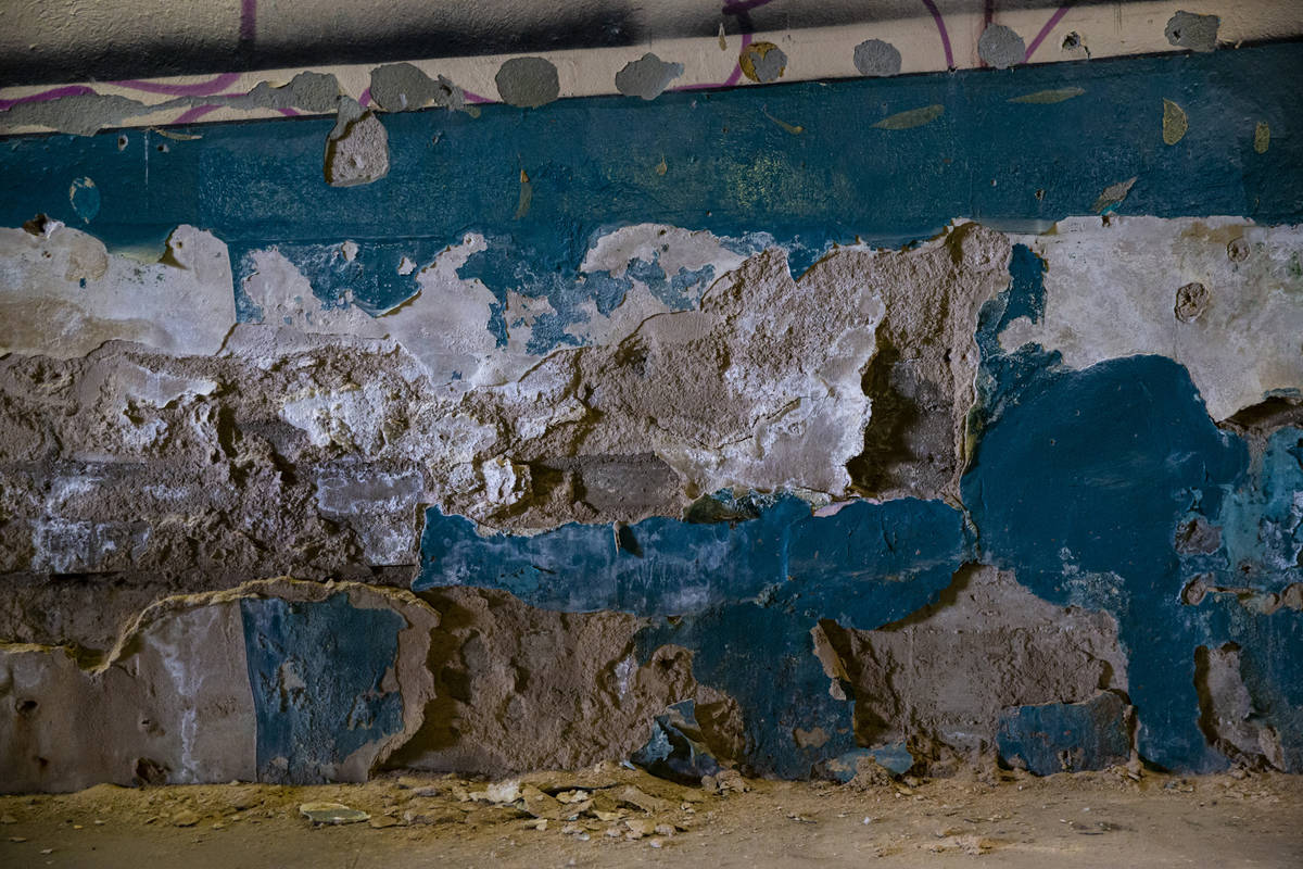 Chipped paint and plaster covers some of the walls inside the Huntridge Theater the day after D ...