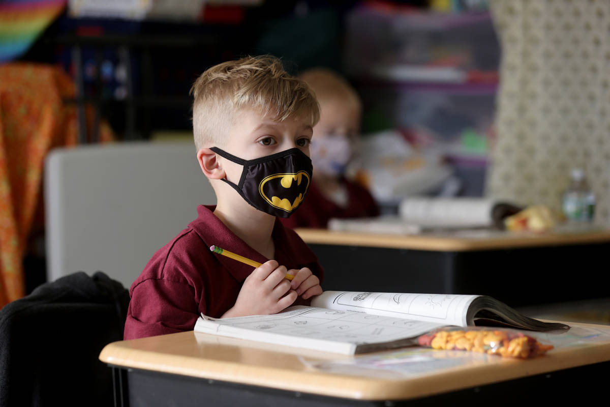 Wyatt Collins, 5, in Tammy Schuster's kindergarten class during school at Coral Academy of Scie ...