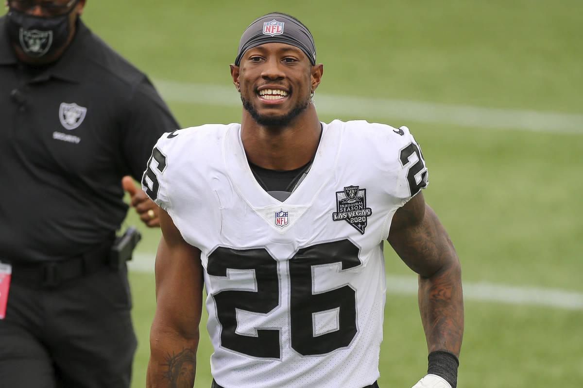 Las Vegas Raiders defensive back Nevin Lawson (26) following an NFL football game against the N ...