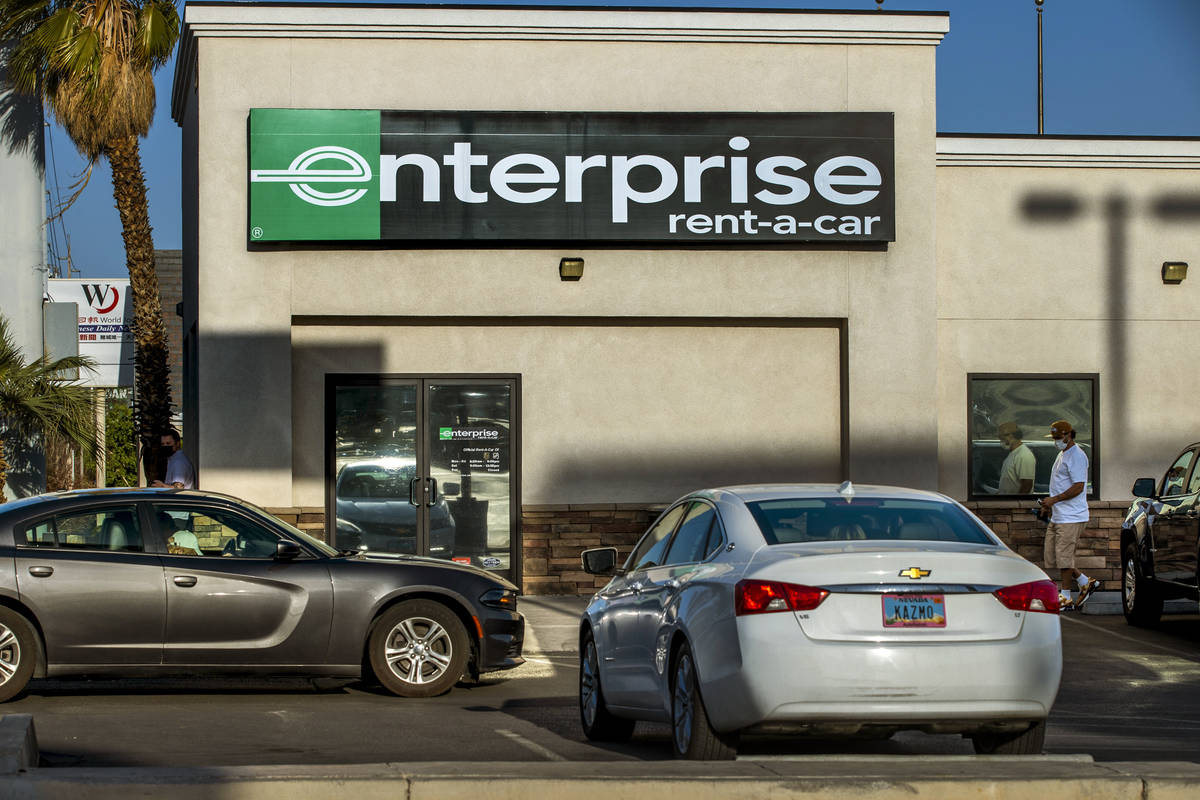 Enterprise Rent-A-Car on West Sahara Avenue on Monday, April 5, 2021. L.E. Baskow/Las Vegas Rev ...
