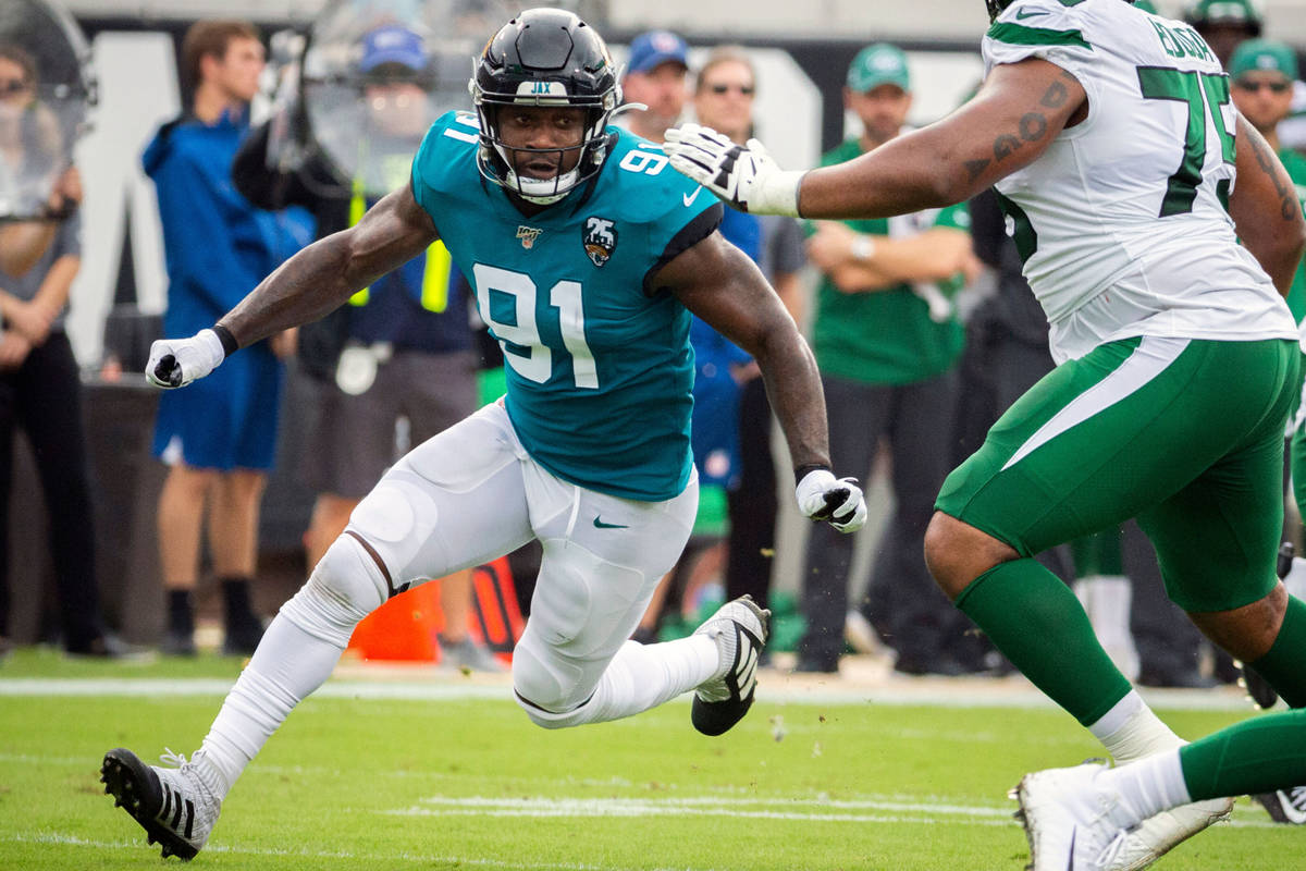 FILE - In this Oct. 27, 2019, file photo, Jacksonville Jaguars defensive end Yannick Ngakoue (9 ...