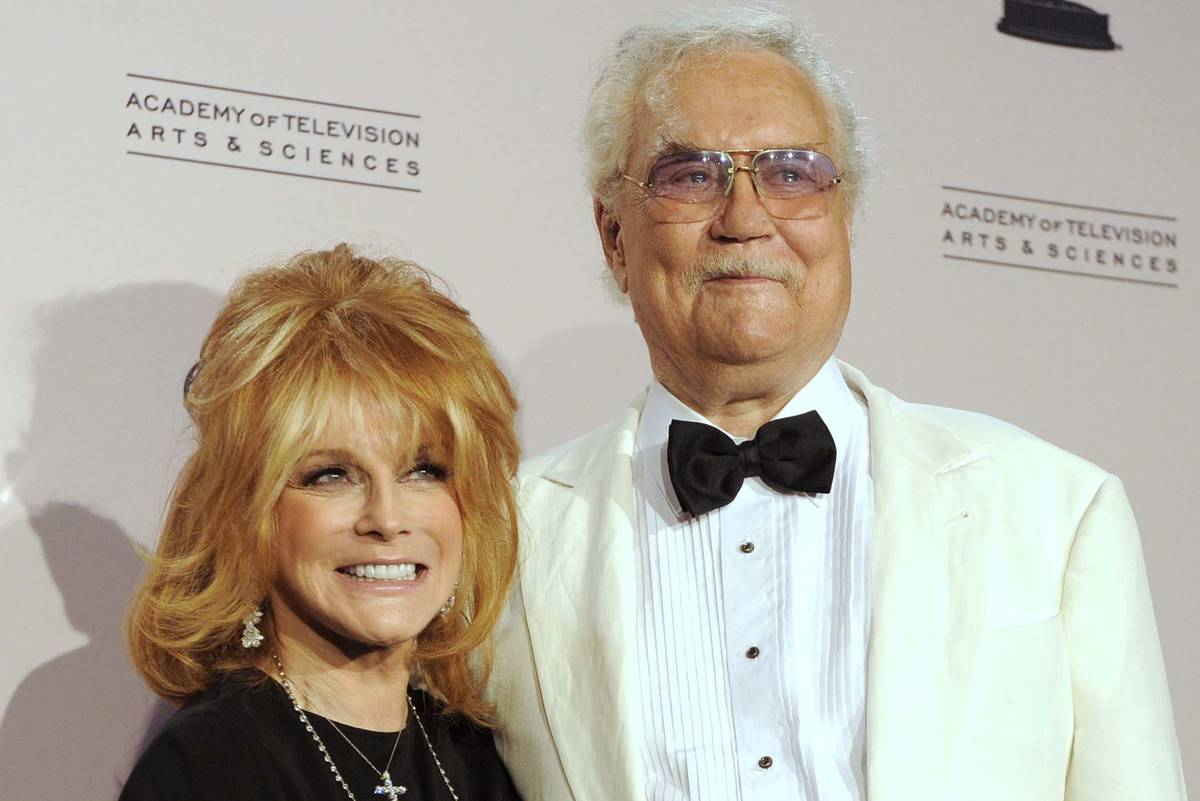 Actress Ann-Margret poses with her husband, Roger Smith, at the Creative Arts Emmy Awards in Lo ...